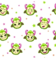 Seamless pattern with cute green monster faces vector image