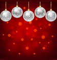 silver balls with snowflakes ornament vector image