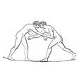 wrestling vintage vector image