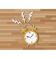 yellow clock deadline with wood background vector image