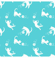 Seamless pattern with cute playing cats on yellow vector image