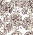 Seamless pattern of enchanted old trees graphic vector image vector image