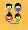 kokeshi dolls card vector image