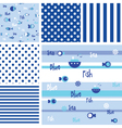 Blue Seamless fish pattern -swatches vector image vector image