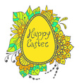Easter doodle egg with floral ornament vector image