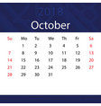 october 2018 calendar popular blue premium for vector image