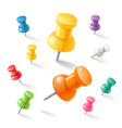 push pins icons set vector image