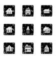 Residence icons set grunge style vector image