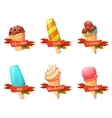 set of flat ice creams icons with ribbons vector image