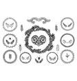 Set of handdrawn laurels wreath vector image