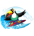 Toucan on surfboard in the giant wave vector image