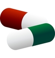 two colored pills vector image
