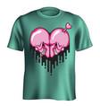 skull heart t-shirt vector image