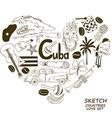 Cuban symbols in heart shape concept vector image