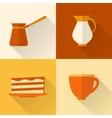 Flat coffee icons set vector image