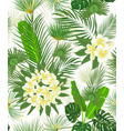 seamless hand drawn tropical pattern with palm vector image