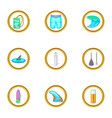surf icons set cartoon style vector image