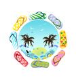 Flip Flops around summer vector image
