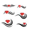 beauty hair diamond salon logo design set vector image vector image