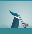 businessman climb up ladder stairs hold dollar vector image