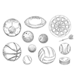 Sporting items sketches for sport game design vector image vector image