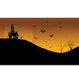 Halloween castle and bat at afternoon silhouette vector image