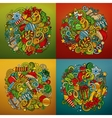 New Year cartoon 4 square composition backgrounds vector image