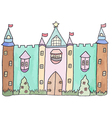 Pastel cartoon castle vector image