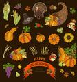 set of Thanksgiving design elements vector image