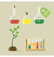 Chemical flask and plant vector image