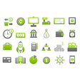 Banking gray greem icons set vector image vector image