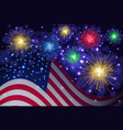 american flag and independence day fireworks vector image