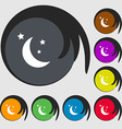 moon icon sign Symbols on eight colored buttons vector image