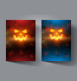pumpkin face on modern colourful background vector image