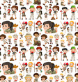 Seamless background with kids in safari outfit vector image