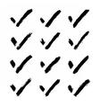 Brushstroke check mark black sign on white vector image