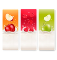 Three fruit and milk labels vector image