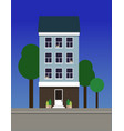 a multi-storey narrow dwelling house made of blue vector image