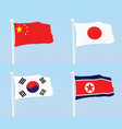 china japan south korea and north korea flags vector image