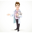 Cute male doctor in a shirt and tie and medical vector image