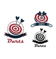 Darts sport emblems or symbols vector image