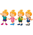 Little girl in different costumes vector image