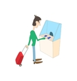 Man buys a ticket in the ticket office icon vector image
