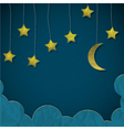 Moon and stars made from paper vector image