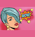 short hair beautiful girl wow vector image