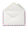 White opened air mail envelope isolated vector image