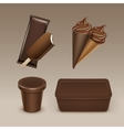 Chocolate Ice Cream Waffle Cone with Plastic Box vector image