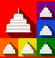 cake with candle sign set of icons with vector image