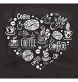 Coffee labels Design elements on the chalkboard vector image