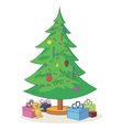 Christmas tree with toys and gift boxes vector image vector image